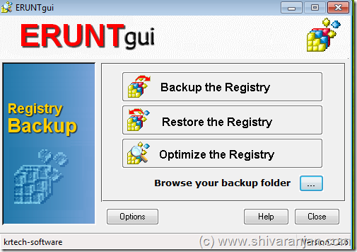Windows registry backup restore optimize