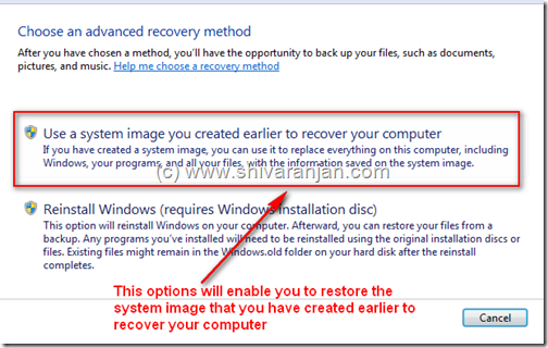windows7recoversystemimage03 Windows 7: Restore System Image BackUp In case of System or Boot Failure