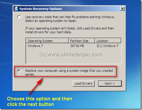 windows7recoversystemimage07 Windows 7: Restore System Image BackUp In case of System or Boot Failure
