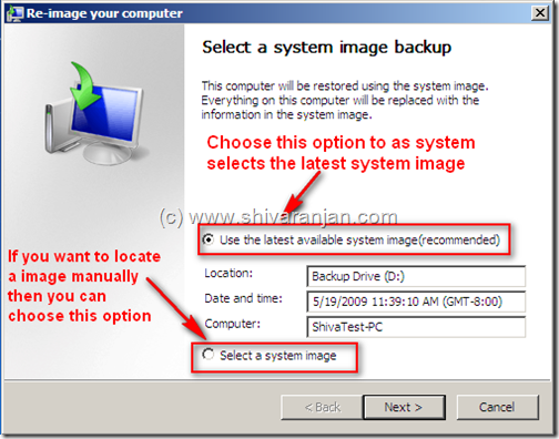 windows7recoversystemimage08 Windows 7: Restore System Image BackUp In case of System or Boot Failure